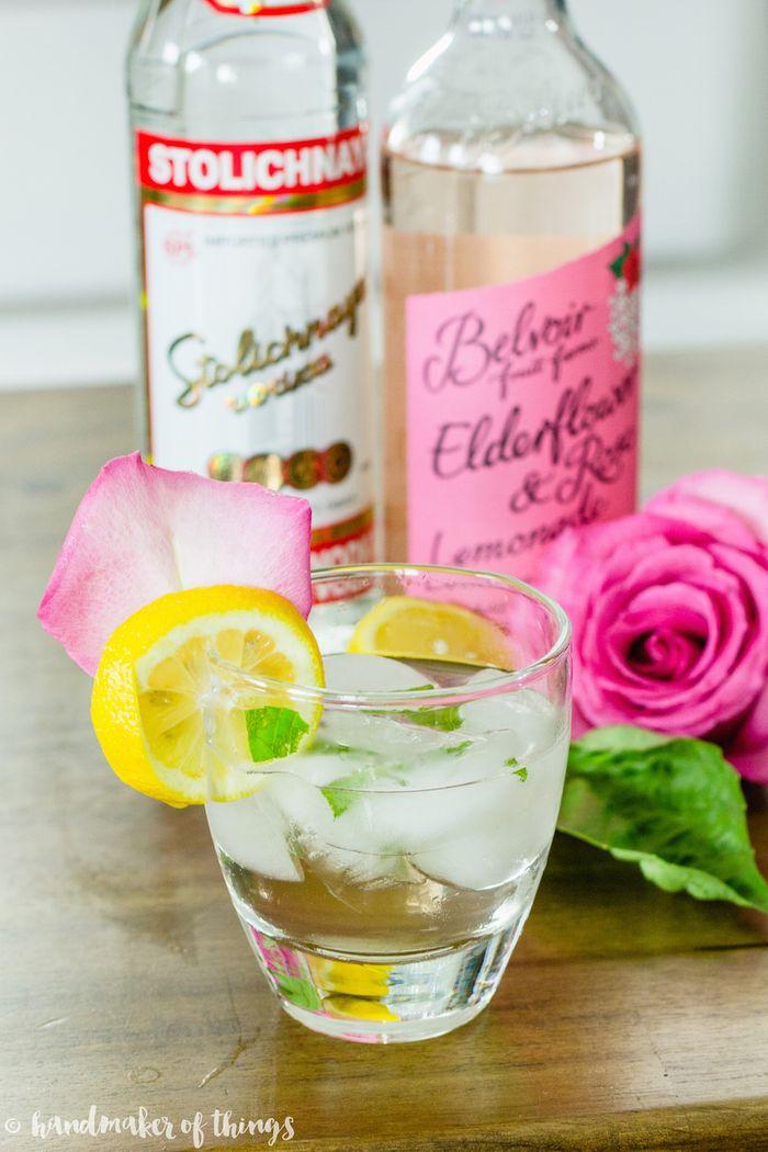 Basil rose lemonade cocktail-9