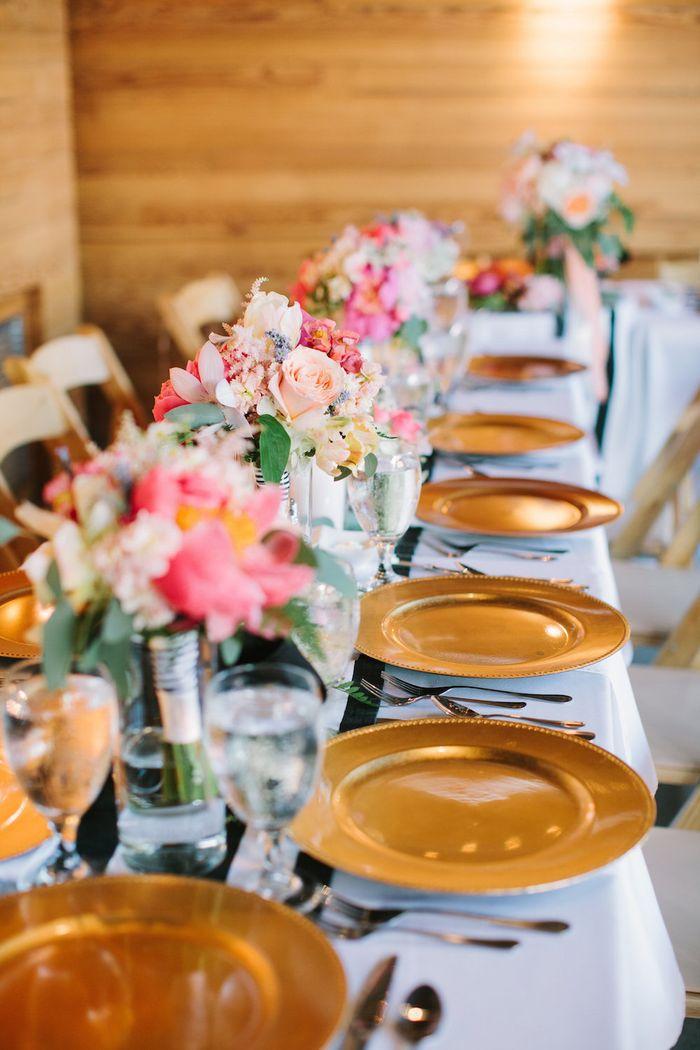 Bridesmaids bouquets as centerpieces