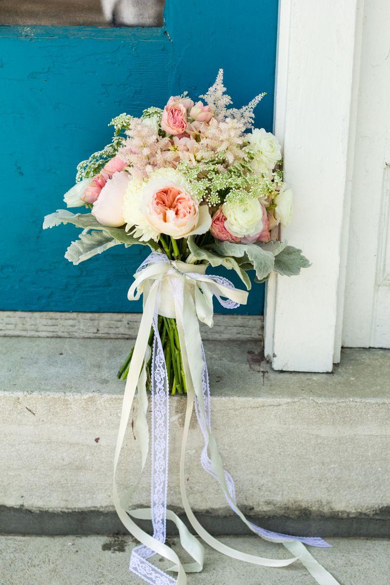 Lace trimmed bridal bouquet