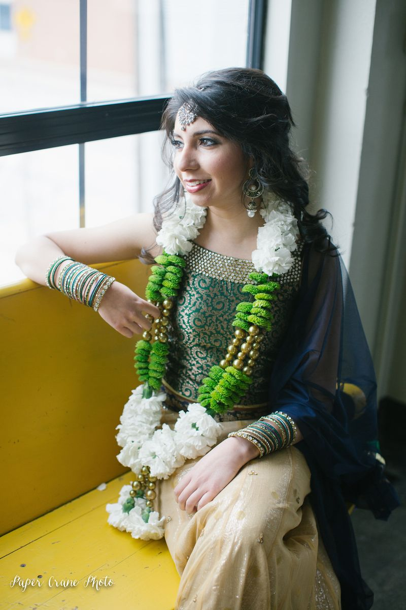 Gold-and-green-indian-wedding-varmala