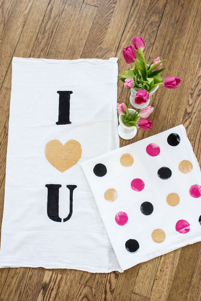 DIY I Love You hand towel