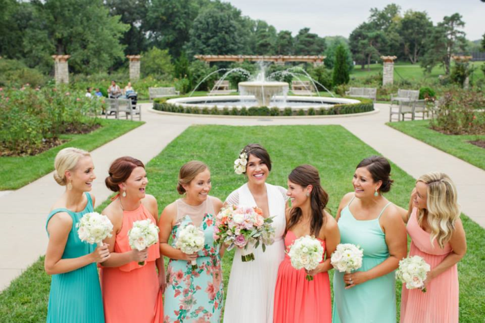 aqua-mint-and-coral-bridesmaids-dresses