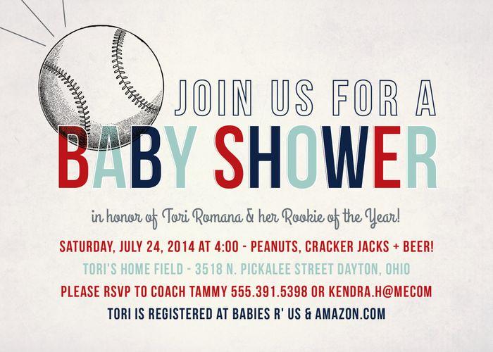 Baseball themed shower invitation