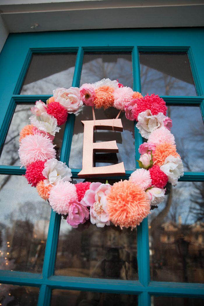 Pom-pom-and-flower-wreath