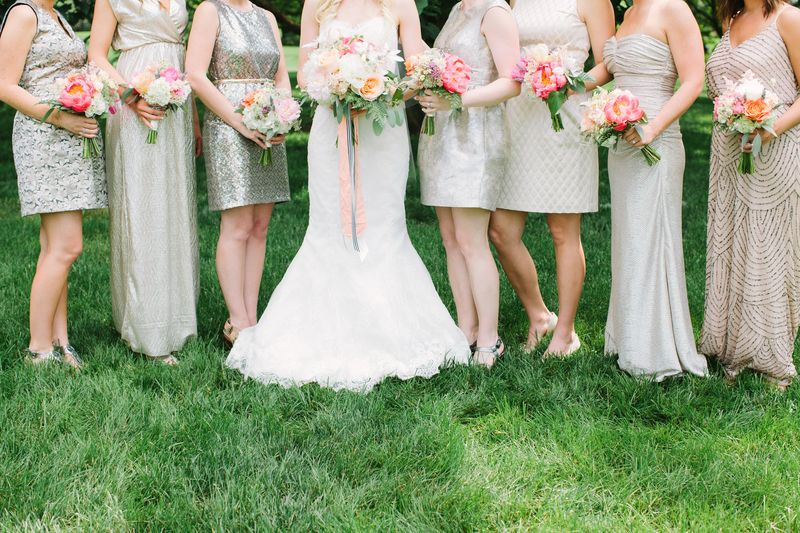 Gold and champagne bridesmaids gowns