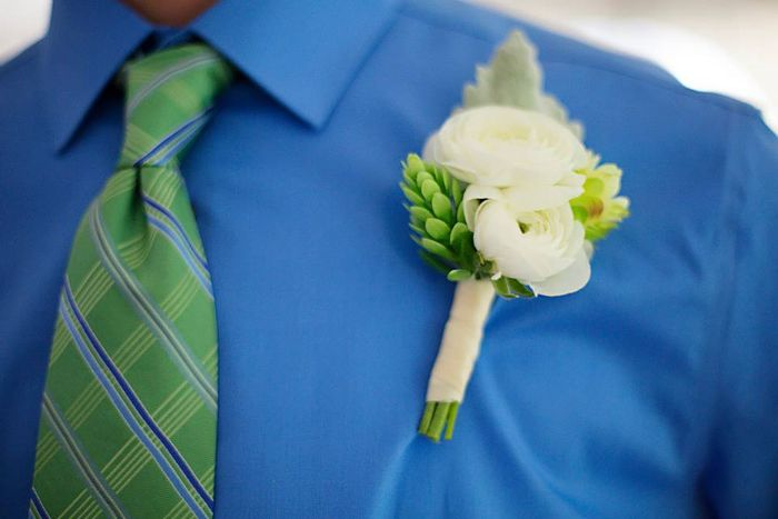 Ranunculus and hops boutonniere