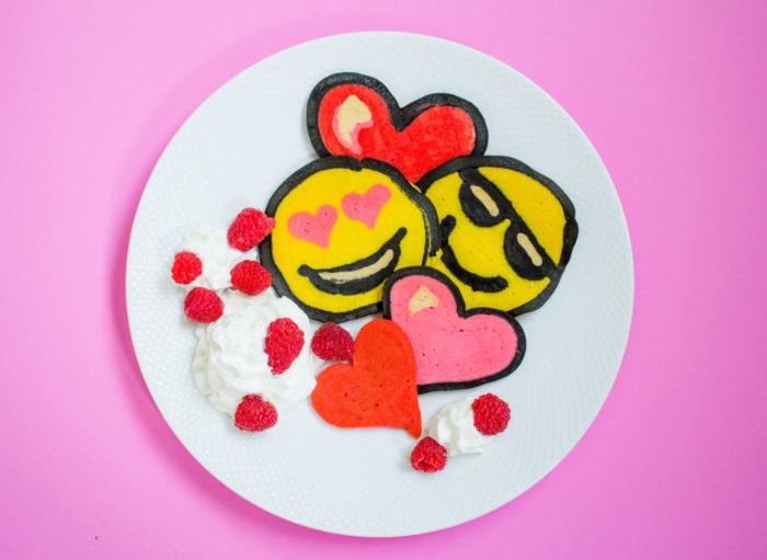 Emoji Valentine's Pancake Art